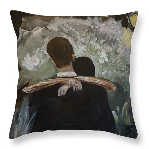 Couple Painting Throw Pillow featuring the painting The Dance by Leslie Allen
