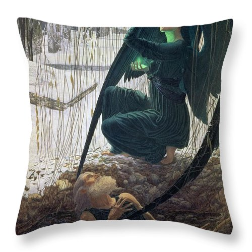 Angel; Scythe; Wings; Fin De Siecle; Snow; Grave; The Death And The Gravedigger Throw Pillow featuring the painting The Death And The Gravedigger by Carlos Schwabe