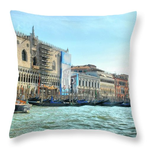 Venice Throw Pillow featuring the photograph The Doge's Palace On The Grand Canal by Sarah E Ethridge