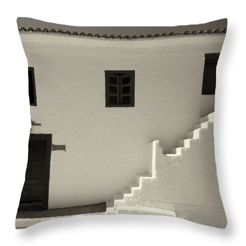 Jouko Lehto Throw Pillow featuring the photograph The Door Of The Chappel Bw by Jouko Lehto