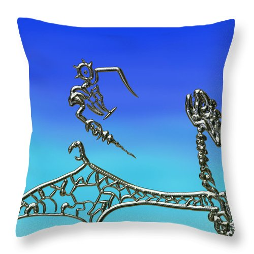 Dragon Throw Pillow featuring the mixed media The Dragon Slayer by Kevin Caudill