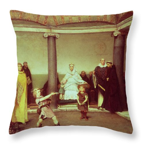 The Throw Pillow featuring the painting The Education Of The Children Of Clothilde And Clovis by Sir Lawrence Alma-Tadema