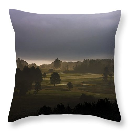 Landscape Throw Pillow featuring the photograph The Eighteenth Hole by Ron Jones
