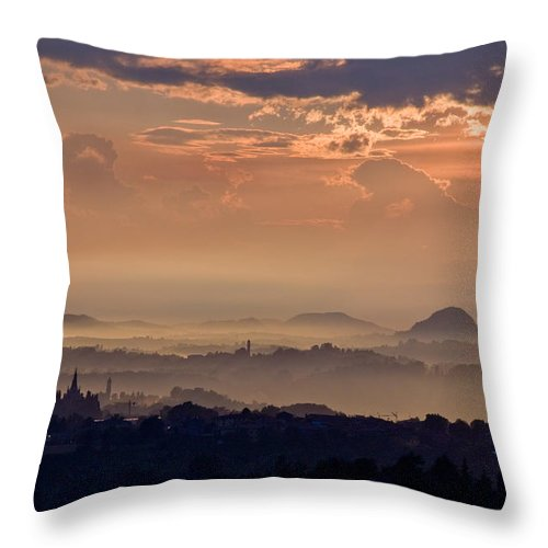 Sun Rain Storm Cloud Vapor Landscape Italy Hills Fog Wide Panorama Throw Pillow featuring the photograph The End Of The Storm by Marco Busoni