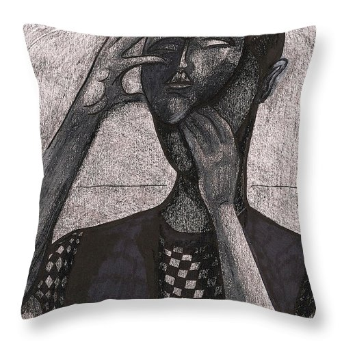 Mask Throw Pillow featuring the drawing The Face Behind The Mask by Al Goldfarb