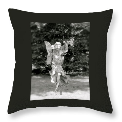 Aimee Mouw Throw Pillow featuring the photograph The Faery Swing by Aimee Mouw