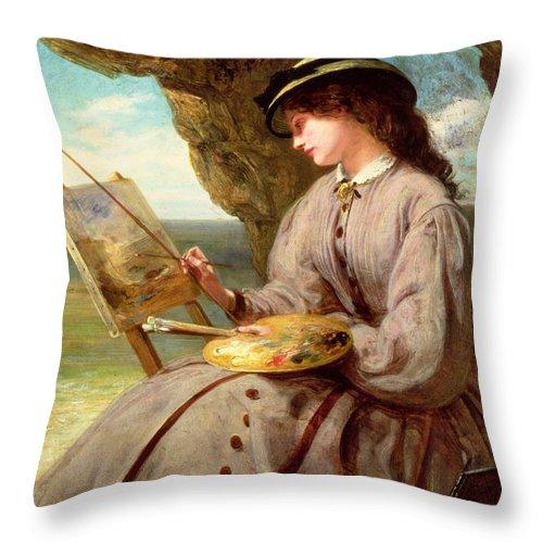 Fair Throw Pillow featuring the painting The Fair Amateur by Abraham Solomon