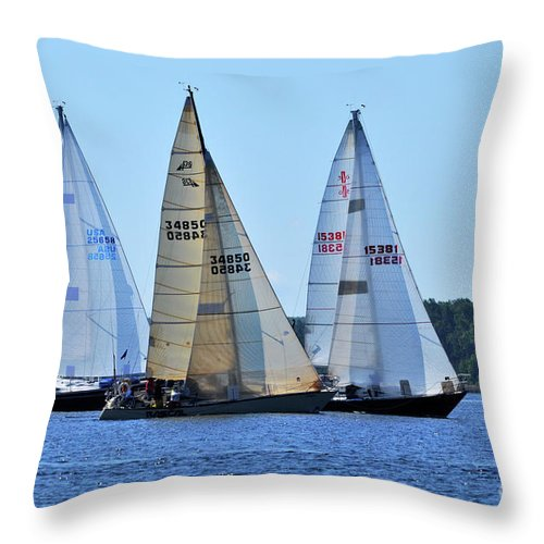 Sail Boats Throw Pillow featuring the photograph The Finish Line by Ronald Grogan