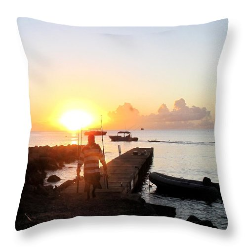 Fisherman Throw Pillow featuring the photograph The Fisherman Returns by Ian MacDonald