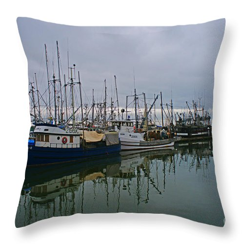 Fishing Boats Throw Pillow featuring the photograph The Fishing Fleet by Randy Harris
