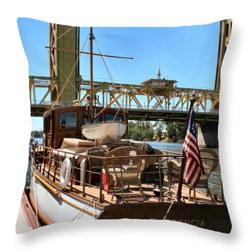 Sacramento River Throw Pillow featuring the photograph The Florencia And Tower Bridge In Color by Sally Bauer