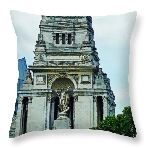 Old Father Thames Throw Pillow featuring the photograph The Former Port Of London Authority Building by Steve Taylor