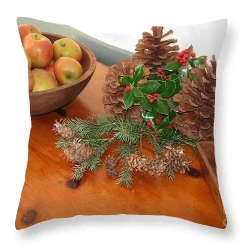 Apples. Bowl Of Apples Throw Pillow featuring the photograph The Fragrance Of Christmas by Nancy Patterson