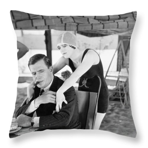 -eating & Drinking- Throw Pillow featuring the photograph The Garden Of Weeds, 1924 by Granger