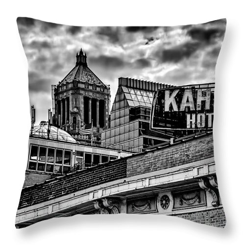 Clouds Storm Black And White Noir City Cityscape Skyline Rochester Minnesota Kahler Hotel Throw Pillow featuring the photograph The Gathering Storm by Tom Gort