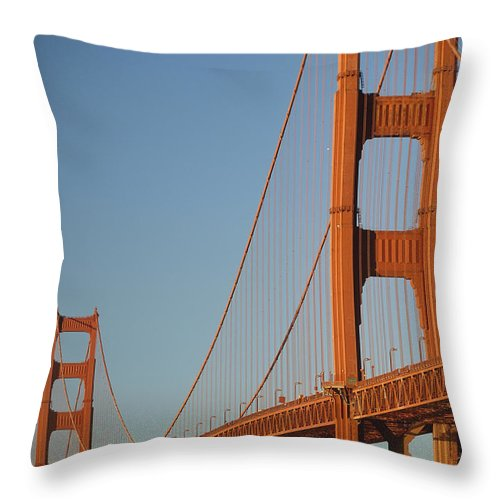 Urban Throw Pillow featuring the photograph The Golden Gate Bridge At Dawn by Axiom Photographic