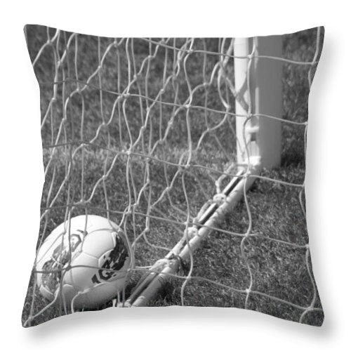 Soccer Throw Pillow featuring the photograph The Golden Goal by Laddie Halupa