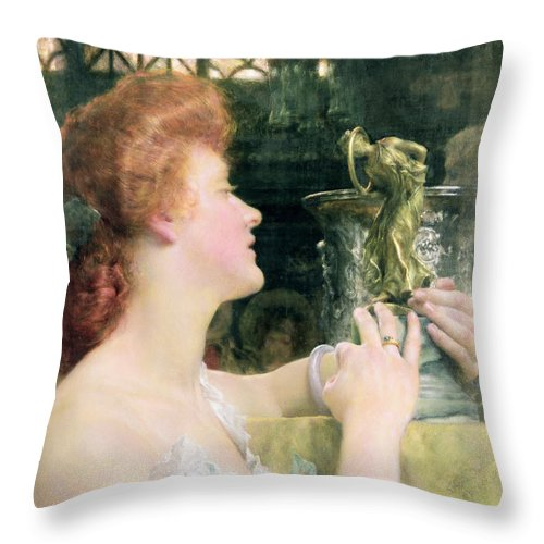 Golden Throw Pillow featuring the painting The Golden Hour by Sir Lawrence Alma-Tadema