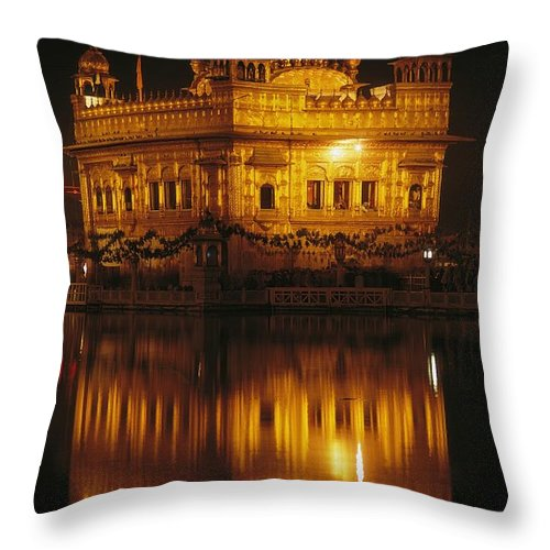 Asia Throw Pillow featuring the photograph The Golden Temple Is Reflected by James P. Blair
