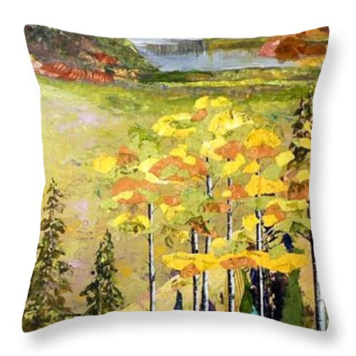 Colorado Landscapes Throw Pillow featuring the painting The Gore Range by Saundra Lane Galloway