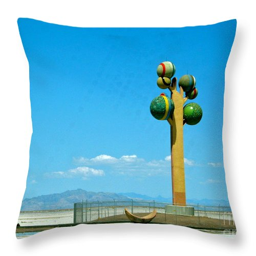 White Clouds Throw Pillow featuring the photograph The Great Salt Lake Utah by Phyllis Kaltenbach