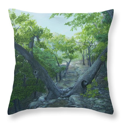Landscape Throw Pillow featuring the painting The Hiking Trail by Carlos Gomez
