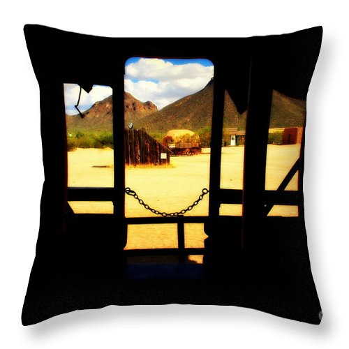Village Throw Pillow featuring the photograph The Hills In Old Tuscon Az by Susanne Van Hulst