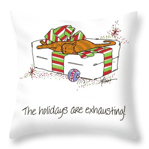 Christmas Throw Pillow featuring the painting The Holidays Are Exhausting. by Adele Bower
