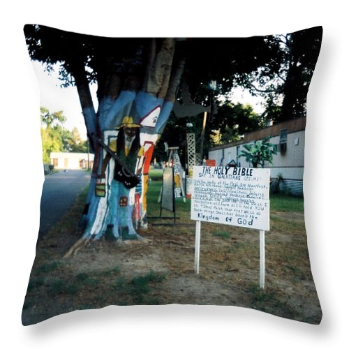 Louisiana Throw Pillow featuring the photograph The Holy Bible Say In Galatians by Doug Duffey