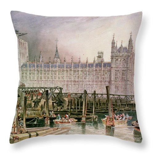 Construction Begun Throw Pillow featuring the painting The Houses Of Parliament In Course Of Erection by John Wilson Carmichael