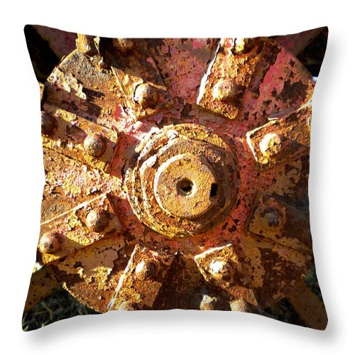 Wheel Throw Pillow featuring the painting The Hub by Renate Nadi Wesley