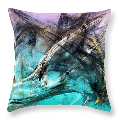 Abstract Throw Pillow featuring the digital art The Hunt by David Lane