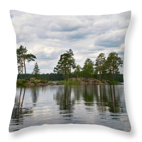 Haukkajärvi Throw Pillow featuring the photograph The Island In The Middle by Jouko Lehto