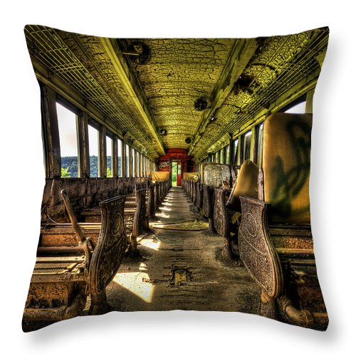 Train Throw Pillow featuring the photograph The Journey Ends by Evelina Kremsdorf