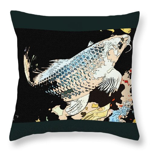 Fish Throw Pillow featuring the photograph The Koi by Stephanie Haertling
