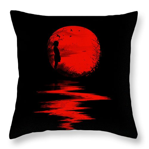 Art Throw Pillow featuring the digital art The Land of the Rising Sun by Nicebleed