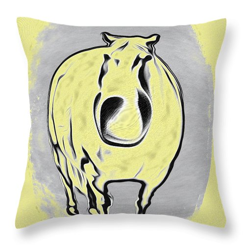 The Legend Of Fat Horse Throw Pillow featuring the digital art The Legend Of Fat Horse by Bill Cannon