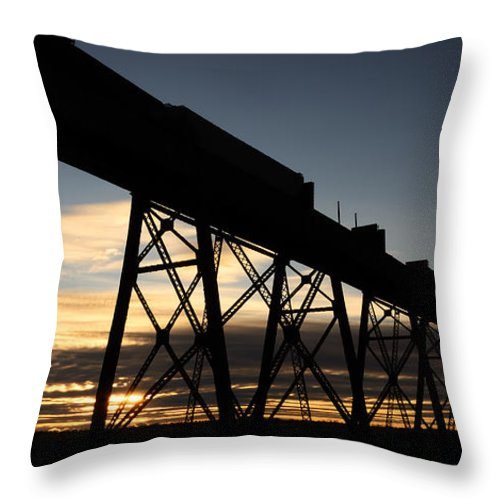 Lethbridge Throw Pillow featuring the photograph The Lethbridge Bridge by Vivian Christopher