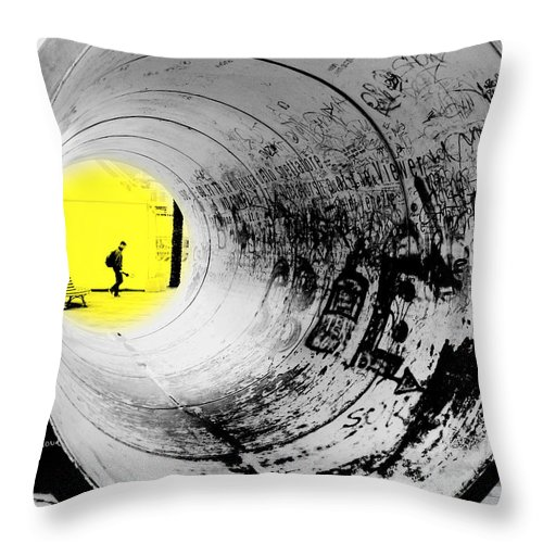 Tunnel Throw Pillow featuring the photograph The Light At The End Of The Tunnel by Valentino Visentini