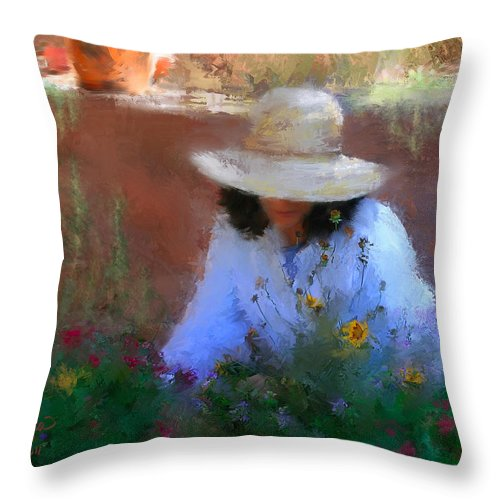 Flowers Throw Pillow featuring the painting The Light Of The Garden by Colleen Taylor
