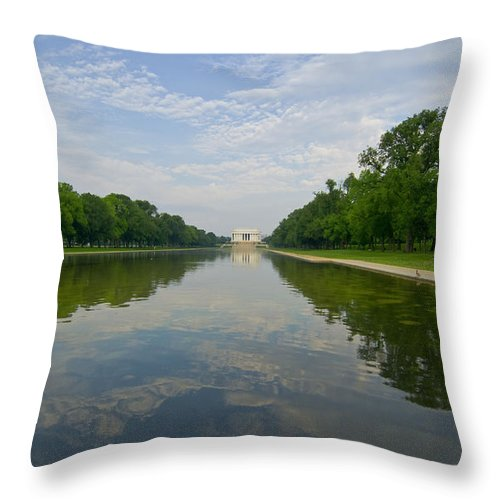 Lincoln Memorial Throw Pillow featuring the photograph The Lincoln Memorial And Reflecting Pool by Jim Moore
