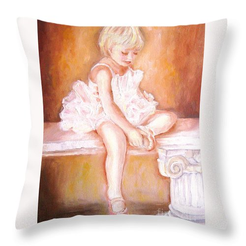 Ballerinas Throw Pillow featuring the painting The Little Ballerina by Carole Spandau