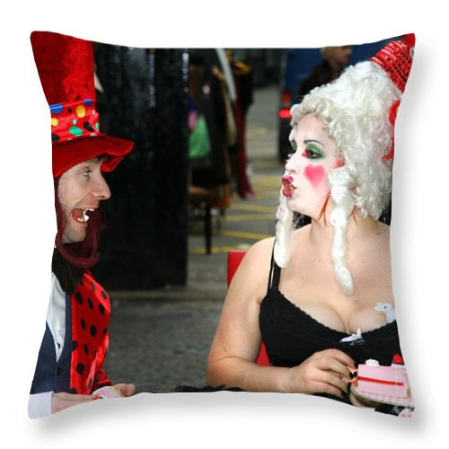 Tea Throw Pillow featuring the digital art The Mad Hatter And The Red Queen by Heather Lennox