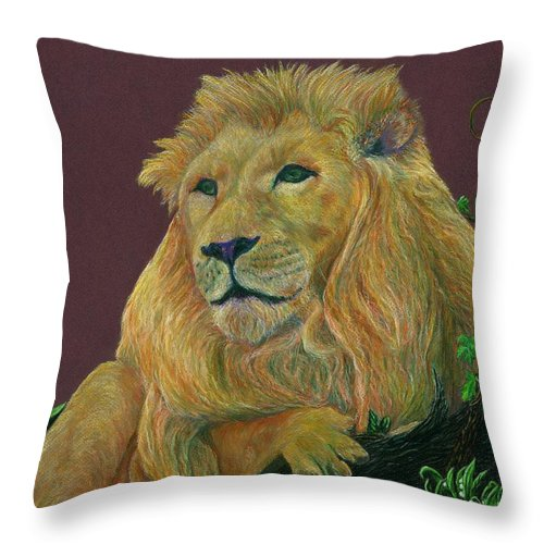 Lion Throw Pillow featuring the pastel The Mighty King by Jyvonne Inman