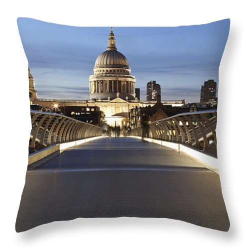 Greater London Throw Pillow featuring the photograph The Millennium Bridge Looking North by Axiom Photographic