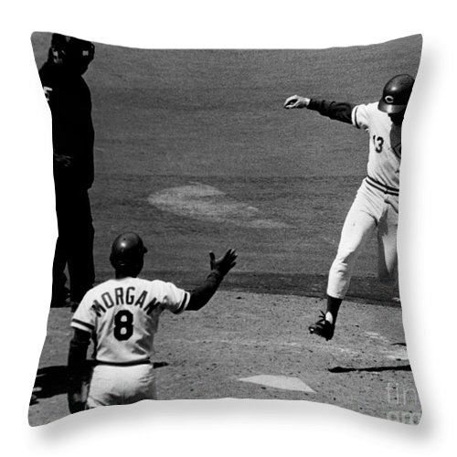 Reds Throw Pillow featuring the digital art The Million And First Home Run by Tom Hubbard