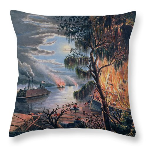 The Mississippi In Time Of War Throw Pillow featuring the painting The Mississippi In Time Of War by Frances Flora Bond Palmer