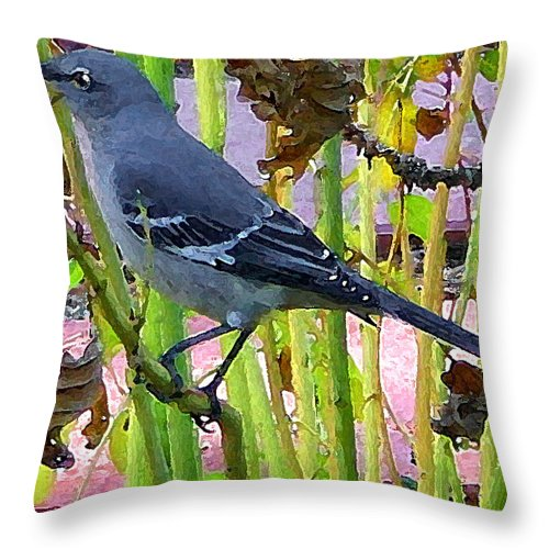 Digital Throw Pillow featuring the photograph The Mockingbird by Nina Fosdick