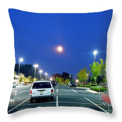 Moon Throw Pillow featuring the photograph The Moon's Competition by Renee Trenholm