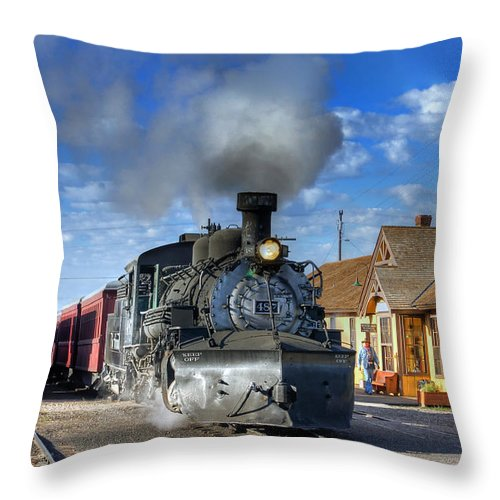 Steam Train Photographs Throw Pillow featuring the photograph The Morning Special by Ken Smith